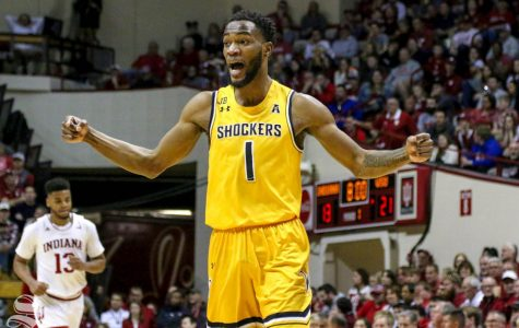 Wichita State senior Markis McDuffie celebrates a made three-pointer in the first half of the game in Bloomington, Indiana on March 26, 2019.