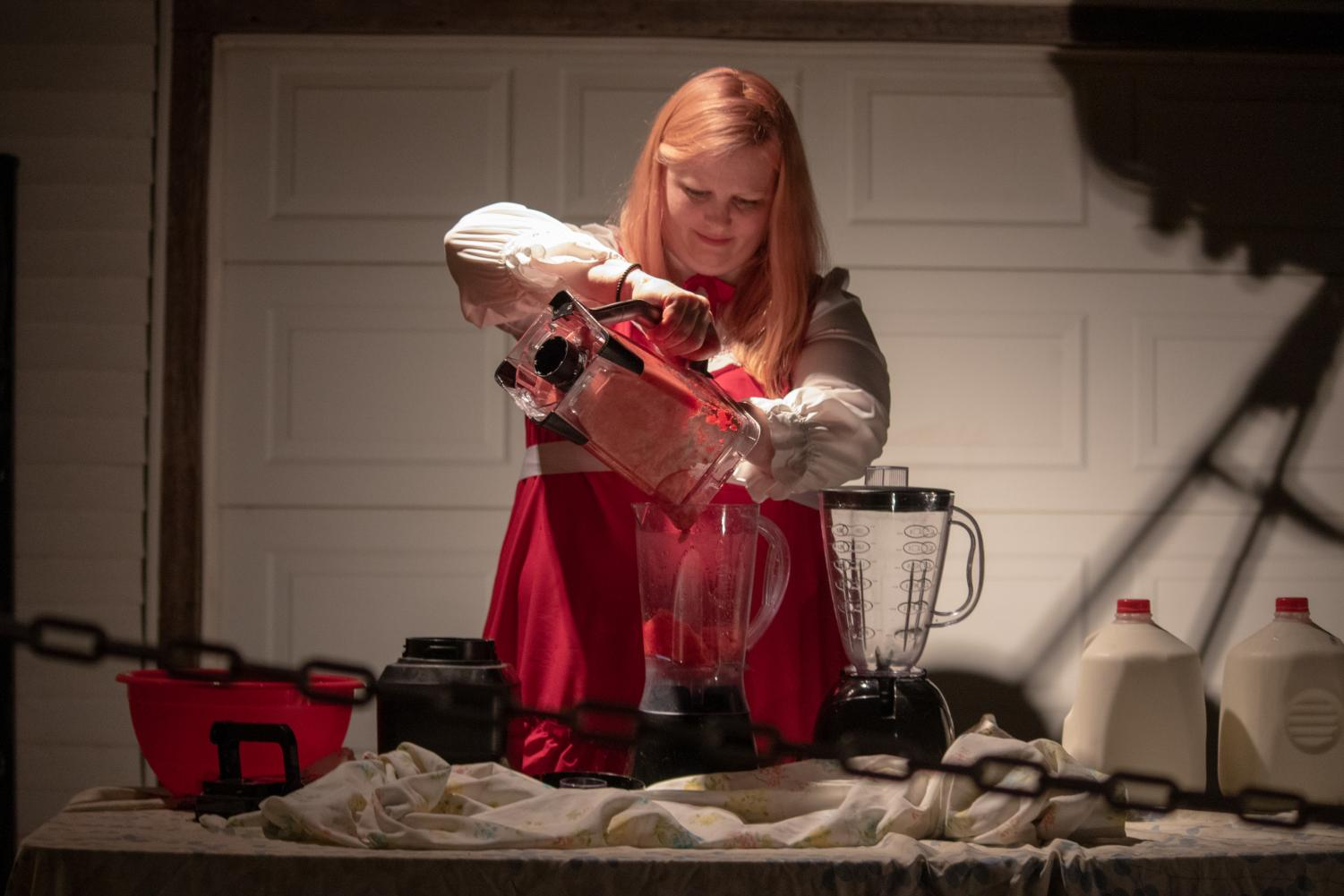 MFA Fine Arts Candidate Monika Maddux during her performance at the Monikahouse.