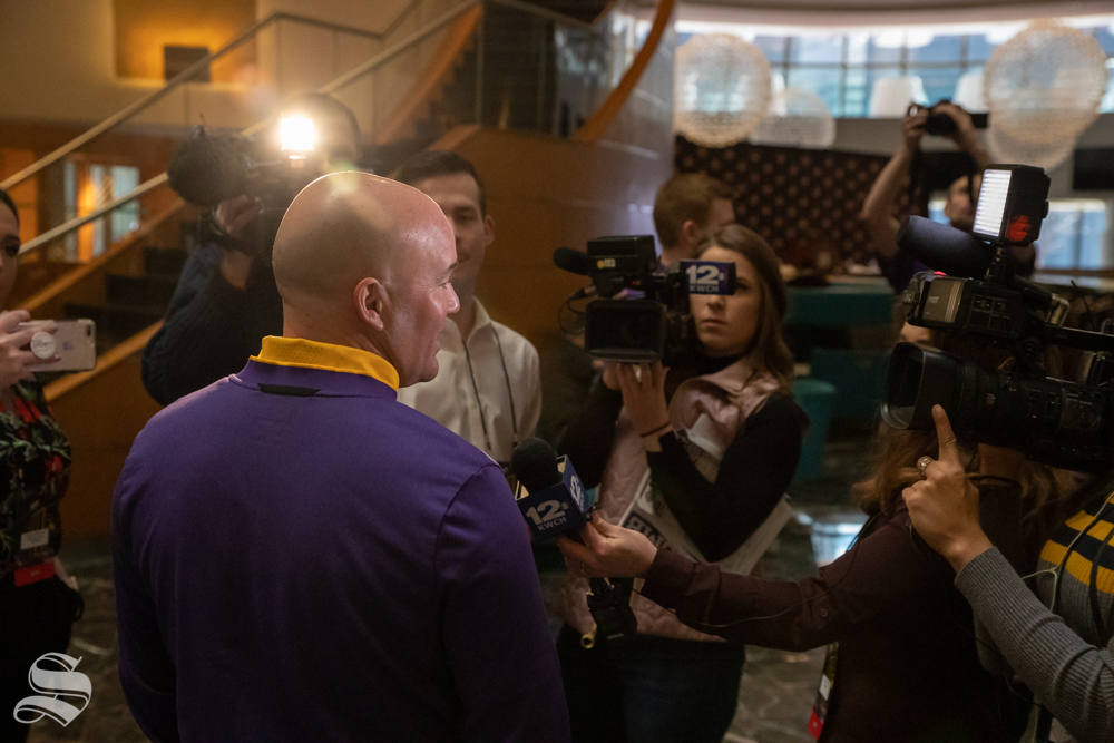 Lipscomb coach Casey Alexander speaks with press during designated interview times in the New York Marriott Marquis on April 1, 2019. Wichita State plays Lipscom on Tuesday, April 2nd in Madison Square Garden. (Photo by Joseph Barringhaus/The Sunflower).