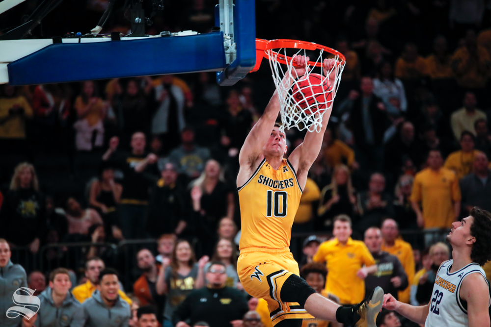 Wichita State freshman Erik Stevenson dunks during the second half of the game against Lipscomb on April 2, 2019 at Madison Square Garden in New York. (Photo by Joseph Barringhaus/The Sunflower).