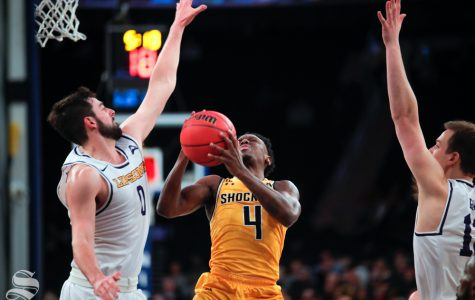 Wichita State guard Samajae Haynes-Jones is fouled on his way up for a shot during the second half of the game against Lipscomb on April 2, 2019 at Madison Square Garden in New York.