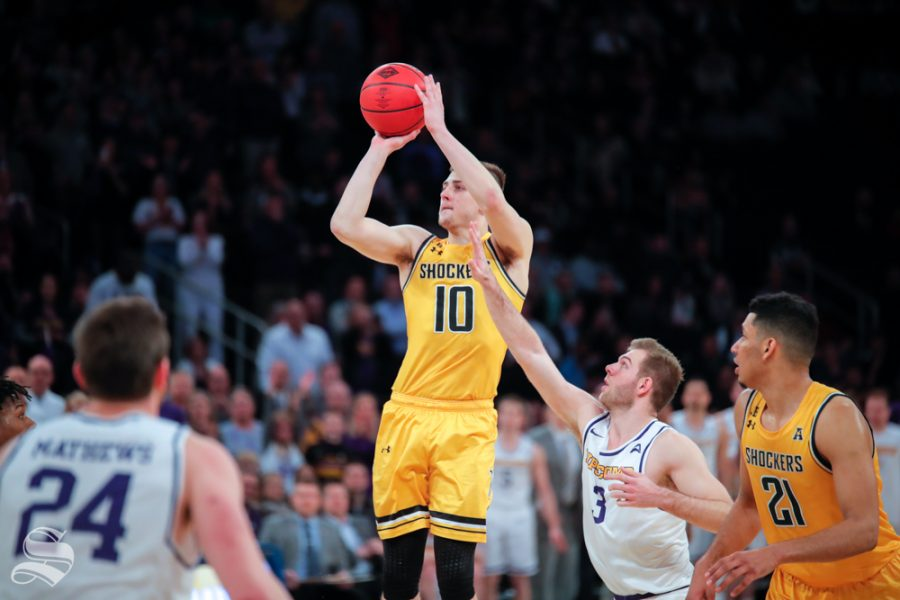 Wichita+State+guard+Erik+Stevenson+takes+a+shot+during+the+second+half+of+the+game+against+Lipscomb+on+April+2%2C+2019+at+Madison+Square+Garden+in+New+York.
