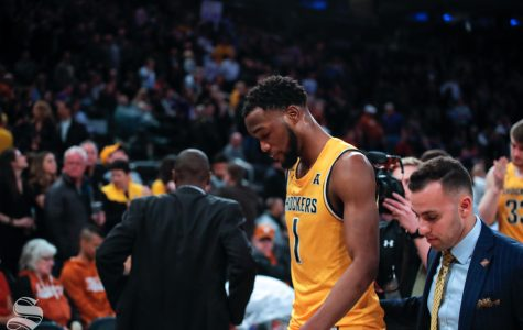 Wichita State senior Markis McDuffie walks off the court for the last time as a Shocker on April 2, 2019 at Madison Square Garden in New York. (Photo by Joseph Barringhaus/The Sunflower).