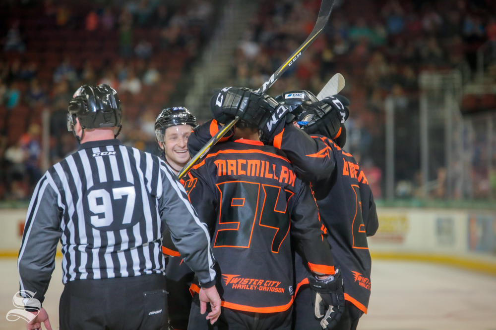 The+Wichita+Thunder+celebrate+forward+Ralph+Cuddemi%27s+goal+during+the+second+period+of+the+game+against+the+Allen+Americans+on+April+5%2C+2019+at+INTRUST+Bank+Arena.+%28Photo+by+Joseph+Barringhaus%2FThe+Sunflower%29.