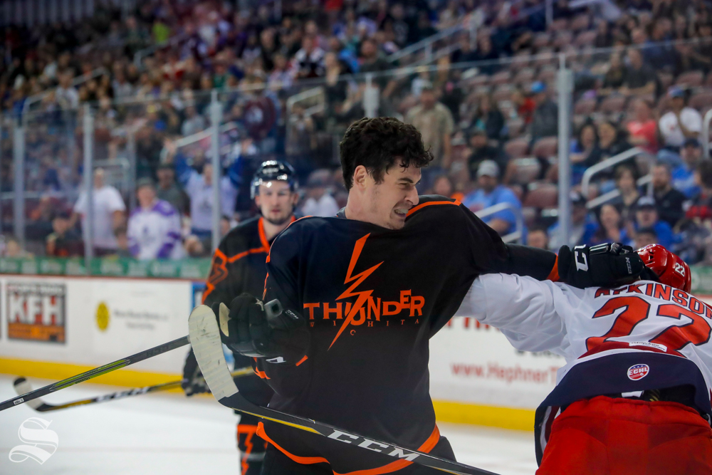 Wichita+Thunder+forward+Colin+Larkin+fights+Allen+Americans+defenseman+Josh+Atkinson+during+the+third+period+of+the+game+on+April+5%2C+2019+at+INTRUST+Bank+Arena.+%28Photo+by+Joseph+Barringhaus%2FThe+Sunflower%29.