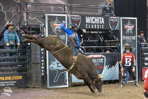 Daylon Sweringen holds onto Test Me for 8 seconds during the first round of the PBR Pendleton Whisky Velocity Tour on April 13, 2019 at INTRUST Bank Arena. (Photo by Joseph Barringhaus/The Sunflower).
