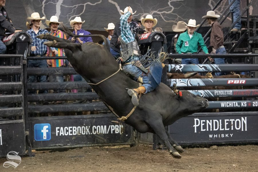 Colt Galvan holds onto Secret Sauce for 2.49 seconds during the first round of the PBR Pendleton Whisky Velocity Tour on April 13, 2019 at INTRUST Bank Arena. (Photo by Joseph Barringhaus/The Sunflower).