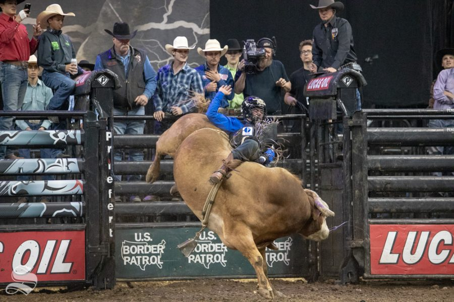 Daylon Swearingen holds onto Chief Petty Officer for 3.17 seconds during the second round of the PBR Pendleton Whisky Velocity Tour on April 13, 2019 at INTRUST Bank Arena. Daylon Swearingen won the PBR Pendleton Whisky Velocity Tour in Wichita. (Photo by Joseph Barringhaus/The Sunflower).(Photo by Joseph Barringhaus/The Sunflower).