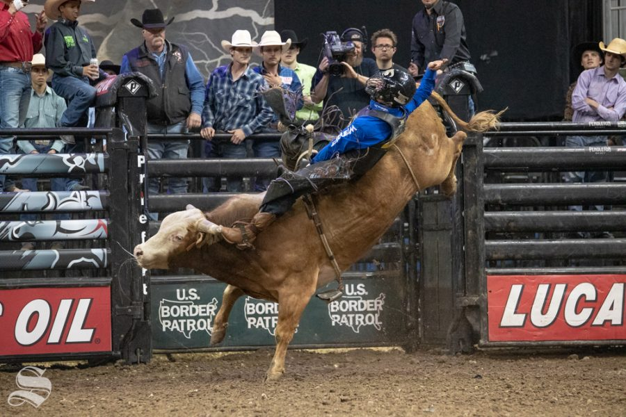 Daylon Swearingen is bucked off of Chief Petty Officer at 3.17 seconds during the second round of the PBR Pendleton Whisky Velocity Tour on April 13, 2019 at INTRUST Bank Arena. Daylon Swearingen won the PBR Pendleton Whisky Velocity Tour in Wichita. (Photo by Joseph Barringhaus/The Sunflower).(Photo by Joseph Barringhaus/The Sunflower).