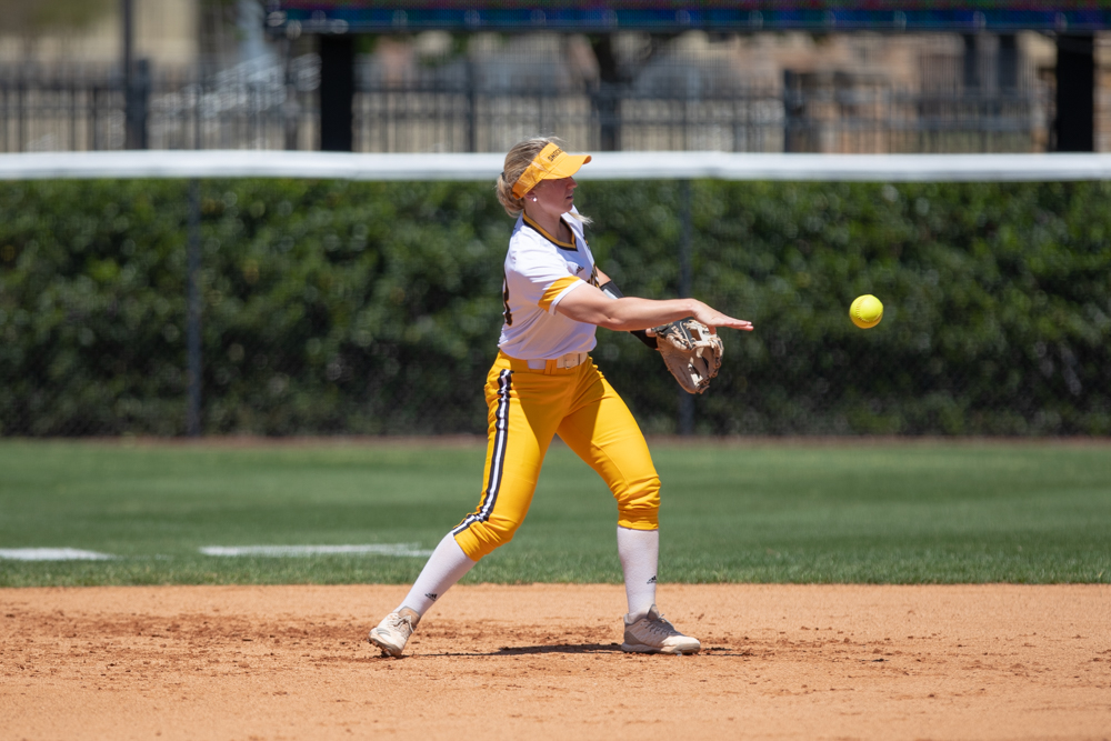 Wichita+State+senior+Laurie+Derrico+makes+a+throw+to+second+for+an+out+during+the+game+against+Tulsa+on+April+27%2C+2019+at+Collins+Family+Softball+Complex+in+Tulsa%2C+Oklahoma.+%28Photo+by+Joseph+Barringhaus%2FThe+Sunflower%29.