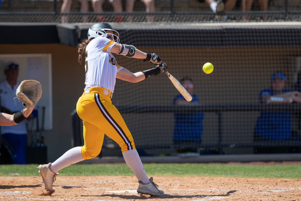 Wichita+State+freshman+Sydney+McKinney+reaches+for+a+hit+during+the+game+against+Tulsa+on+April+27%2C+2019+at+Collins+Family+Softball+Complex+in+Tulsa%2C+Oklahoma.+%28Photo+by+Joseph+Barringhaus%2FThe+Sunflower%29.