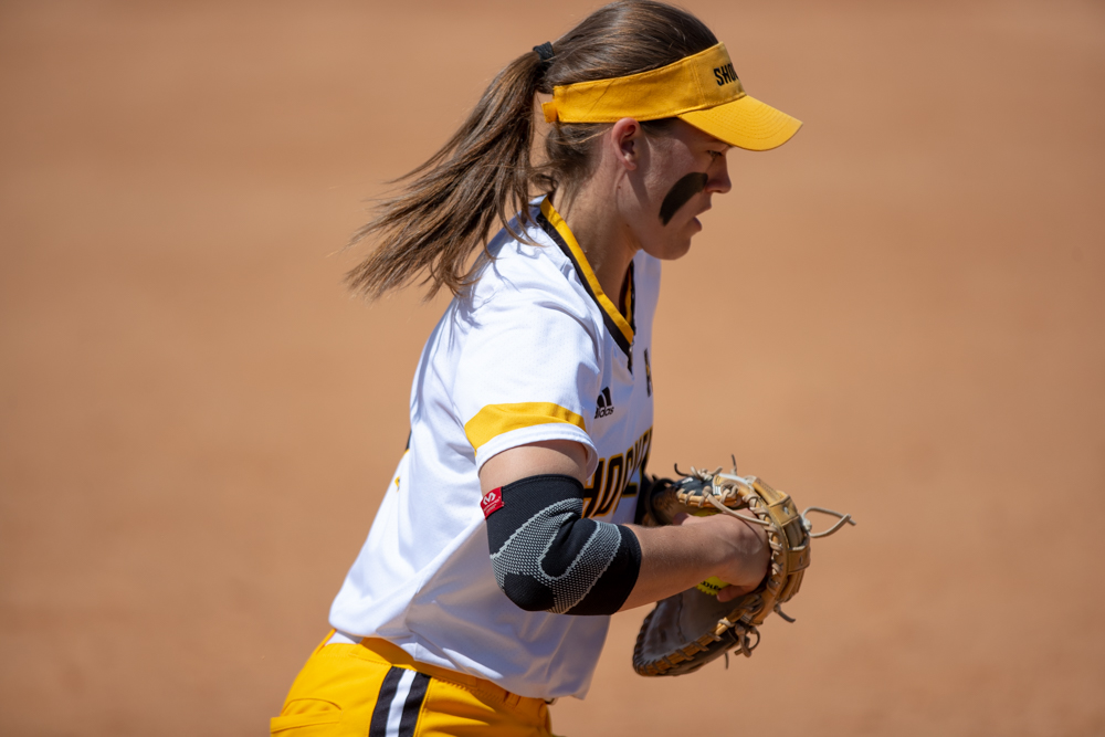 Wichita+State+sophomore+Neleigh+Herring+makes+a+play+at+first+during+the+game+against+Tulsa+on+April+27%2C+2019+at+Collins+Family+Softball+Complex+in+Tulsa%2C+Oklahoma.+%28Photo+by+Joseph+Barringhaus%2FThe+Sunflower%29.