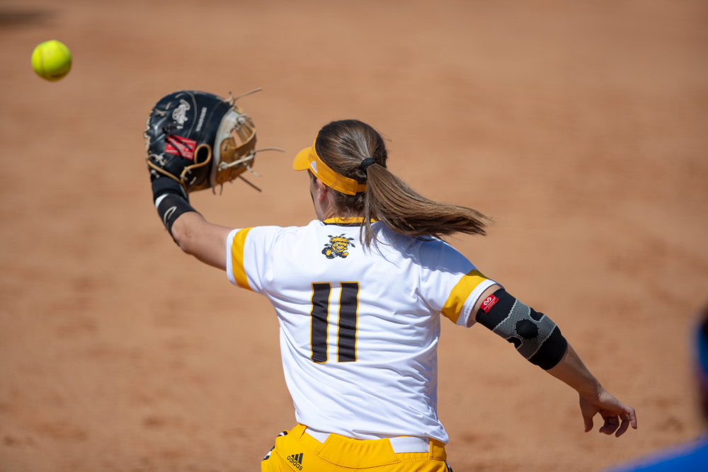 Wichita+State+sophomore+Neleigh+Herring+catches+the+ball+at+first+for+an+out+during+the+game+against+Tulsa+on+April+27%2C+2019+at+Collins+Family+Softball+Complex+in+Tulsa%2C+Oklahoma.+%28Photo+by+Joseph+Barringhaus%2FThe+Sunflower%29.