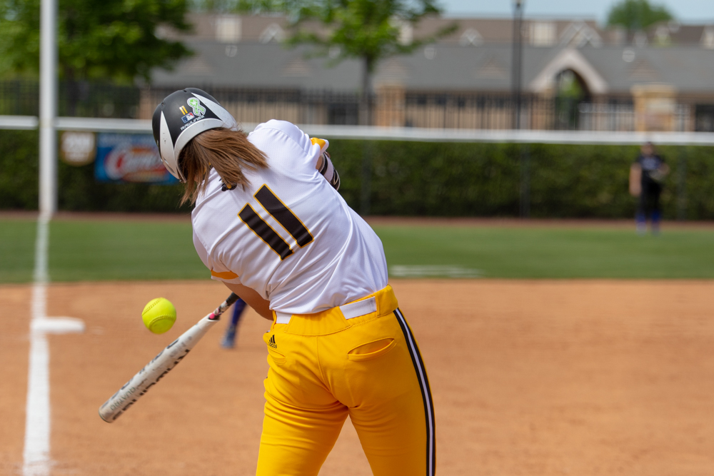 Wichita+State+sophomore+Neleigh+Herring+hits+a+foul+ball+during+the+game+against+Tulsa+on+April+27%2C+2019+at+Collins+Family+Softball+Complex+in+Tulsa%2C+Oklahoma.+%28Photo+by+Joseph+Barringhaus%2FThe+Sunflower%29.