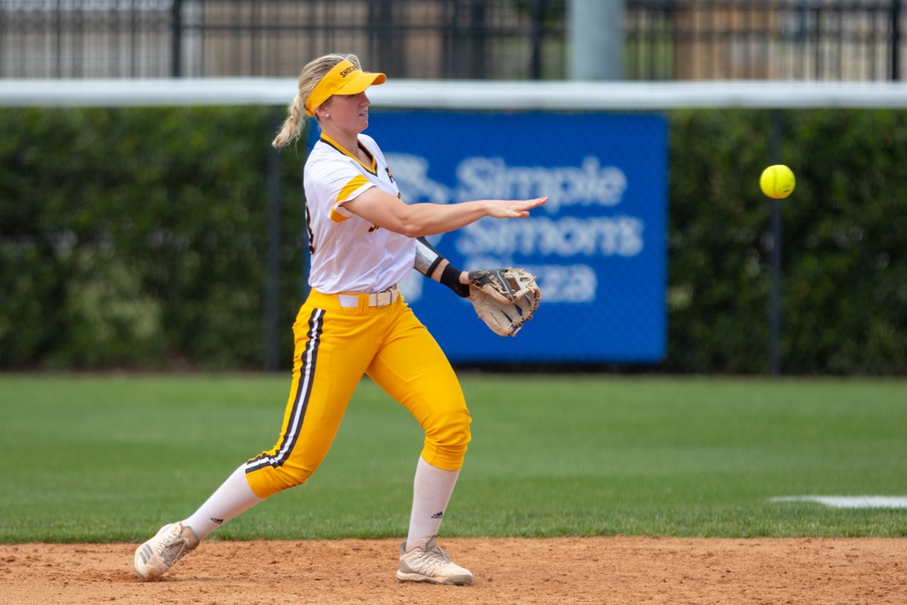 Wichita+State+senior+Laurie+Derrico+throws+the+ball+to+second+for+an+out+during+the+game+against+Tulsa+on+April+27%2C+2019+at+Collins+Family+Softball+Complex+in+Tulsa%2C+Oklahoma.+%28Photo+by+Joseph+Barringhaus%2FThe+Sunflower%29.