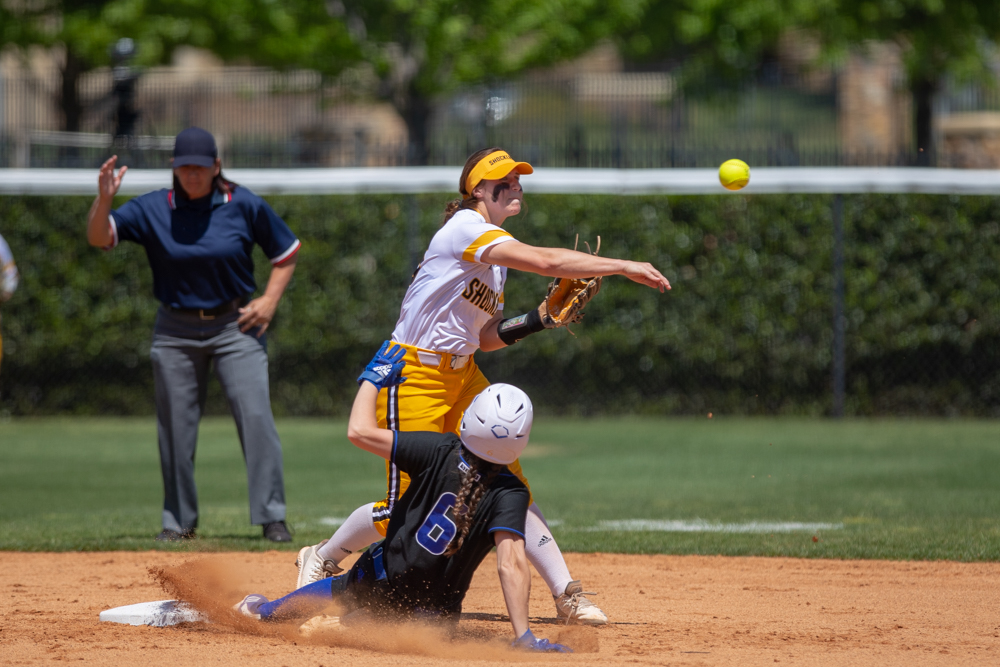 Wichita+State+Sydney+McKinney+makes+the+out+at+second+and+throws+to+first+during+the+game+against+Tulsa+on+April+27%2C+2019+at+Collins+Family+Softball+Complex+in+Tulsa%2C+Oklahoma.+%28Photo+by+Joseph+Barringhaus%2FThe+Sunflower%29.