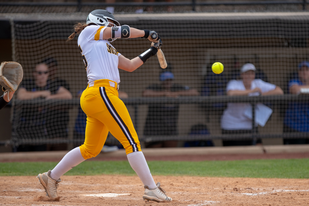 Wichita+State+freshman+Sydney+McKinney+gets+a+hit+during+the+game+against+Tulsa+on+April+27%2C+2019+at+Collins+Family+Softball+Complex+in+Tulsa%2C+Oklahoma.+%28Photo+by+Joseph+Barringhaus%2FThe+Sunflower%29.