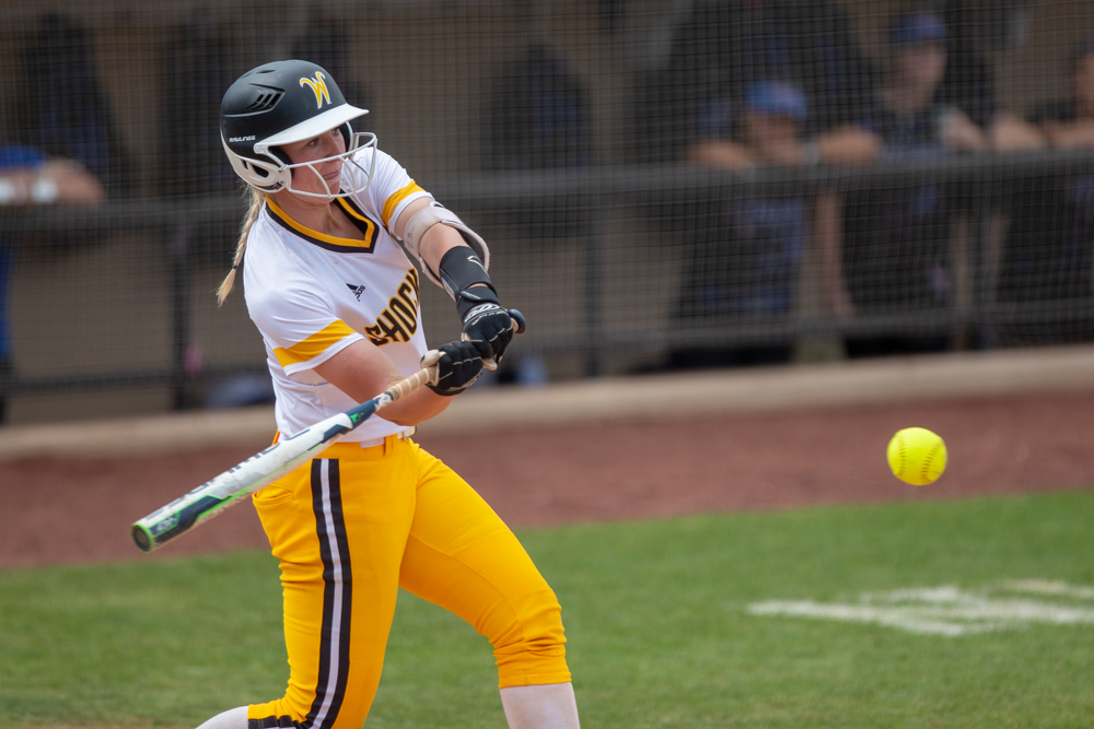 Wichita+State+senior+Laurie+Derrico+hits+a+home+run+during+the+game+against+Tulsa+on+April+27%2C+2019+at+Collins+Family+Softball+Complex+in+Tulsa%2C+Oklahoma.+Derrico%27s+39th+home+run+tied+the+record+for+most+home+runs+by+a+Wichita+State+player.+%28Photo+by+Joseph+Barringhaus%2FThe+Sunflower%29.