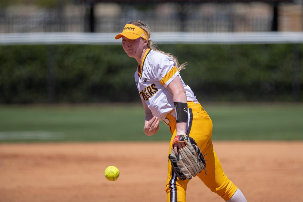 Wichita State sophomore Caitlin Bingham throws a strike during the game against Tulsa on April 27, 2019 at Collins Family Softball Complex in Tulsa, Oklahoma. (Photo by Joseph Barringhaus/The Sunflower).