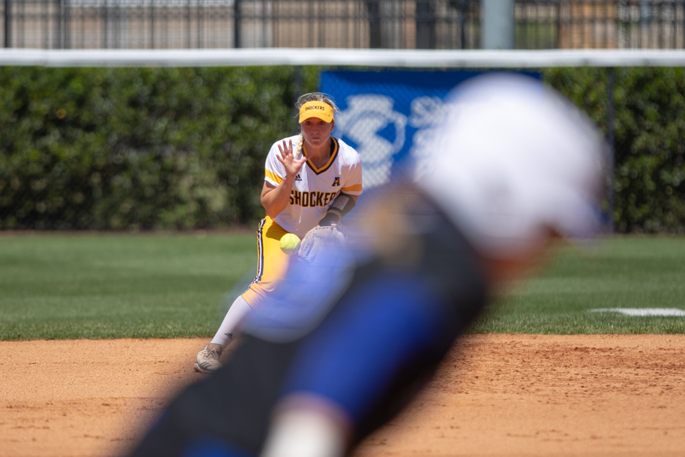 Wichita+State+senior+Laurie+Derrico+makes+a+play+during+the+game+against+Tulsa+on+April+27%2C+2019+at+Collins+Family+Softball+Complex+in+Tulsa%2C+Oklahoma.+%28Photo+by+Joseph+Barringhaus%2FThe+Sunflower%29.