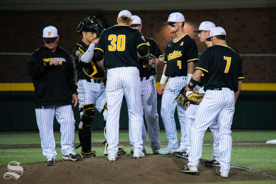Wichita+State+infielders+meet+during+a+time+out+in+the+sixth+inning+of+their+game+against+University+of+Houston.+%28Photo+by+Easton+Thompson%2FThe+Sunflower%29.