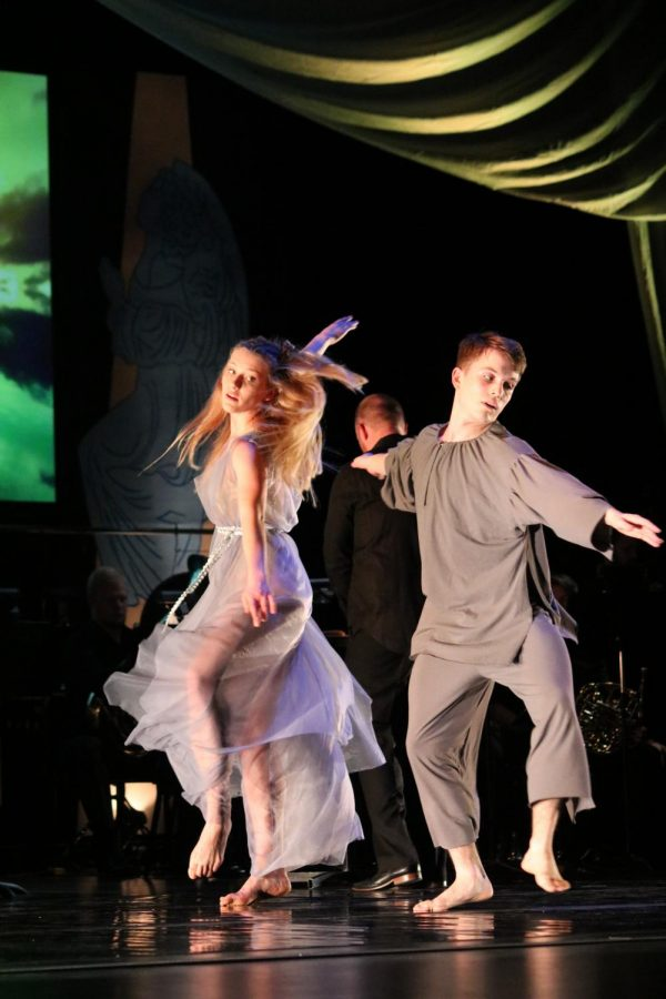 Dantes Muse (Kenzie Gannaway) and Dante (Cainan Spellman-Sak) dance in Eros - The Ascent to Grace.