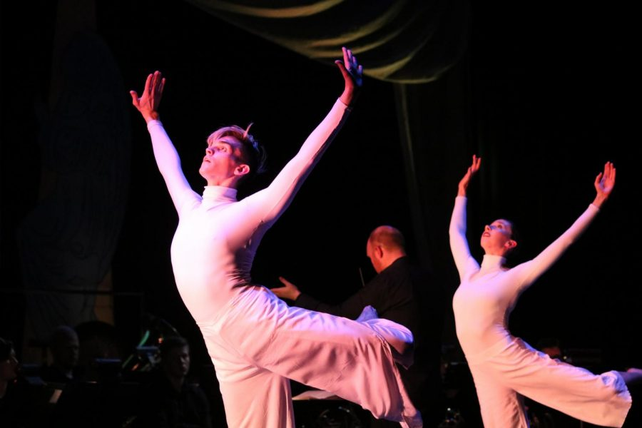 Dream figments (Trevor Hayden and Randi Reinert) leap across the stage in Dantes Nightmares & Dreams.