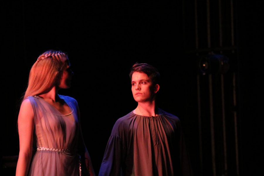 Dantes Muse (Kenzie Gannaway) and Dante (Cainan Spellman-Sak) share a glance.