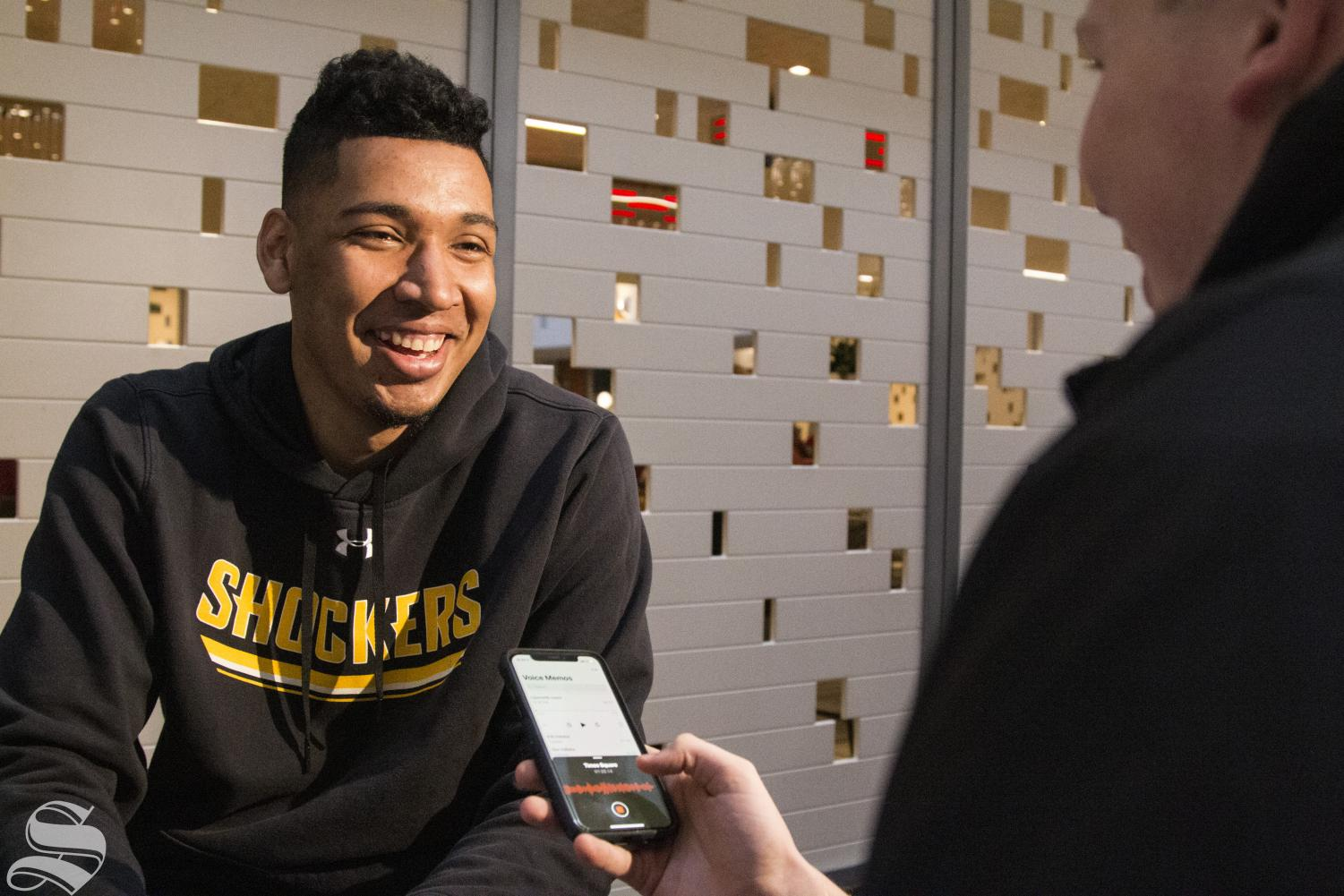 Wichita State's Jaime Echenique answers questions during an interview with The Sunflower at the Marriott Marquis in New York on April 1, 2019.