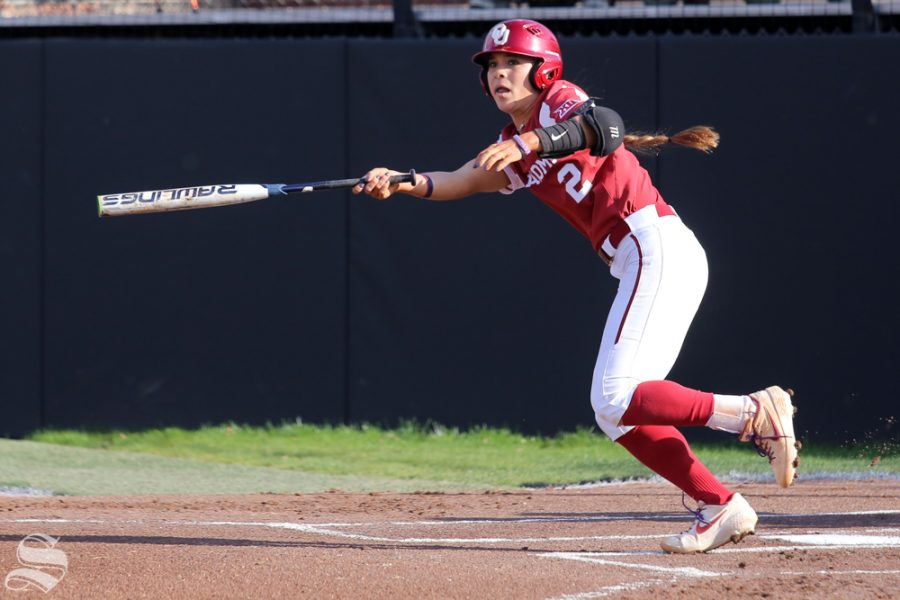 Oklahoma senior Sydney Romero hits a home run over the left-field wall. No. 1 Oklahoma defeated Wichita State 8-0 in five innings on April 24 at Wilkins Stadium. (Photo by Evan Pflugradt/The Sunflower).