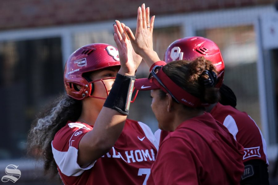 Oklahoma sophomore Jocelyn Alo celebrates a home run, her first of the game. Alo hit two home runs in the game. No. 1 Oklahoma defeated Wichita State 8-0 in five innings on April 24 at Wilkins Stadium. (Photo by Evan Pflugradt/The Sunflower).