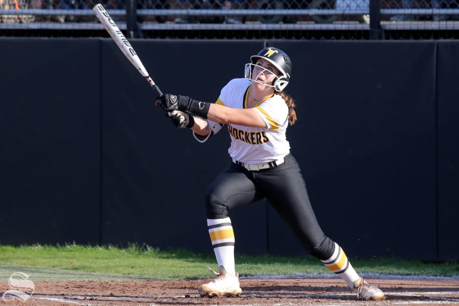 Wichita States Sydney McKinney foul tips a ball. No. 1 Oklahoma defeated Wichita State 8-0 in five innings on April 24 at Wilkins Stadium. (Photo by Evan Pflugradt/The Sunflower).