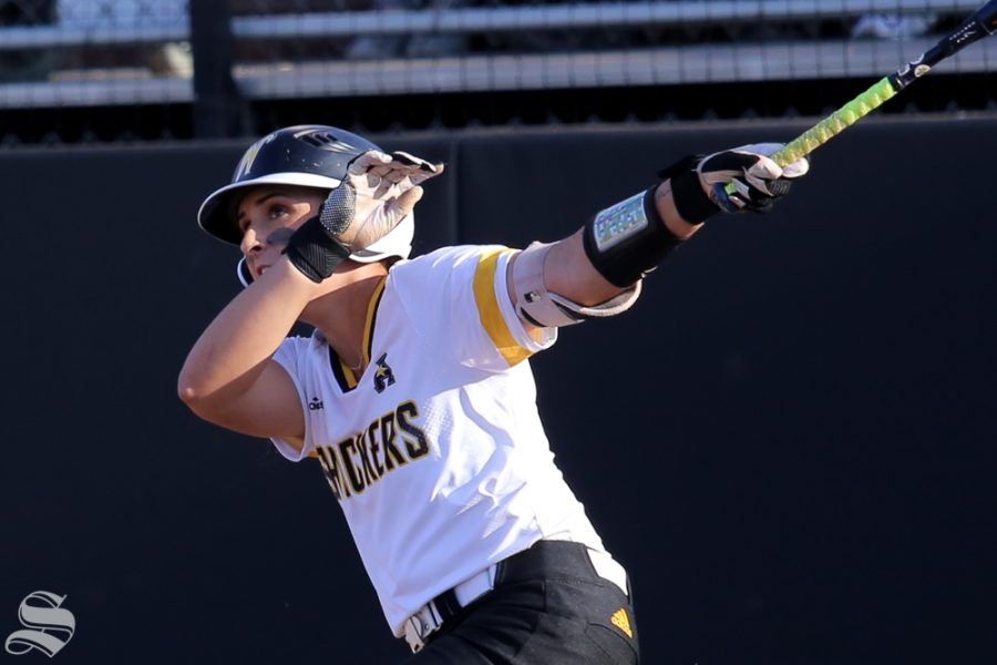 Wichita States Madison Perrigan follows the ball. No. 1 Oklahoma defeated Wichita State 8-0 in five innings on April 24 at Wilkins Stadium. (Photo by Evan Pflugradt/The Sunflower).