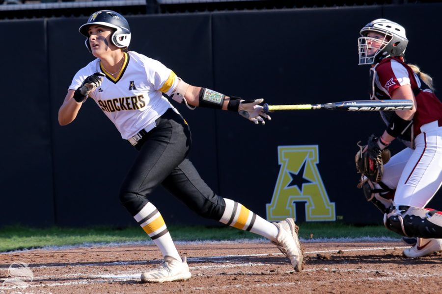 Wichita State's Madison Perrigan records a hit. No. 1 Oklahoma defeated Wichita State 8-0 in five innings on April 24 at Wilkins Stadium. (Photo by Evan Pflugradt/The Sunflower).