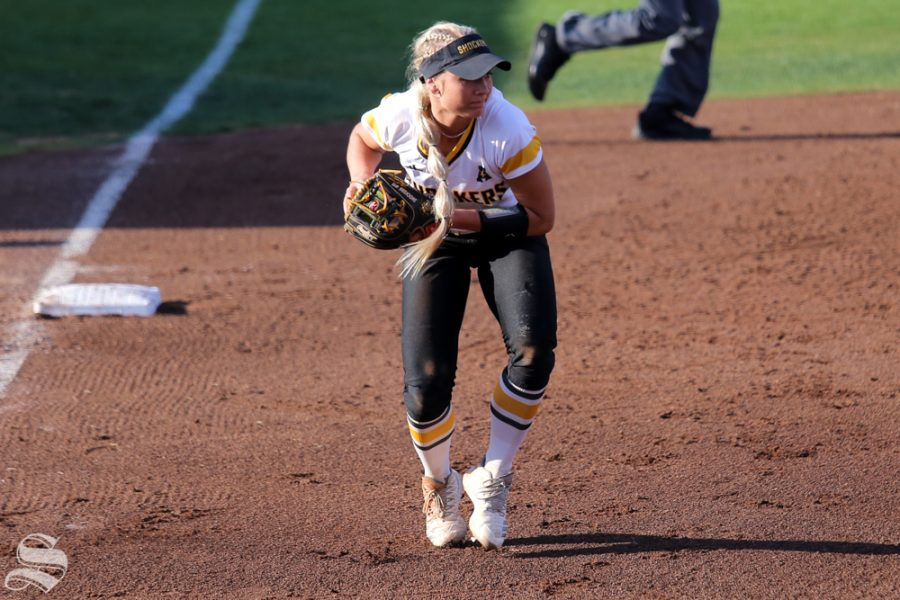 Wichita States Laurie Derrico fields a ground ball to third base. No. 1 Oklahoma defeated Wichita State 8-0 in five innings on April 24 at Wilkins Stadium. (Photo by Evan Pflugradt/The Sunflower).