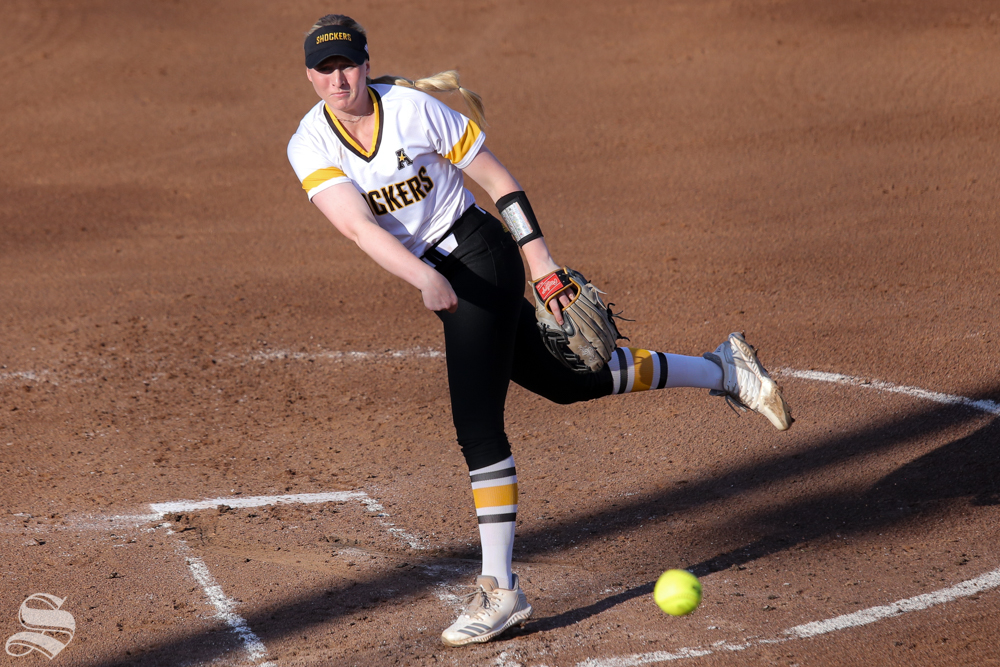 Wichita+State%27s+Caitlyn+Bingham+delivers+a+pitch.+No.+1+Oklahoma+defeated+Wichita+State+8-0+in+five+innings+on+April+24+at+Wilkins+Stadium.+%28Photo+by+Evan+Pflugradt%2FThe+Sunflower%29.