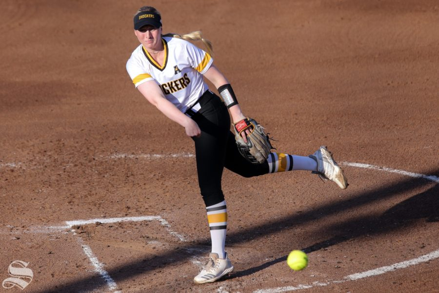 Wichita State's Caitlyn Bingham delivers a pitch. No. 1 Oklahoma defeated Wichita State 8-0 in five innings on April 24 at Wilkins Stadium. (Photo by Evan Pflugradt/The Sunflower).