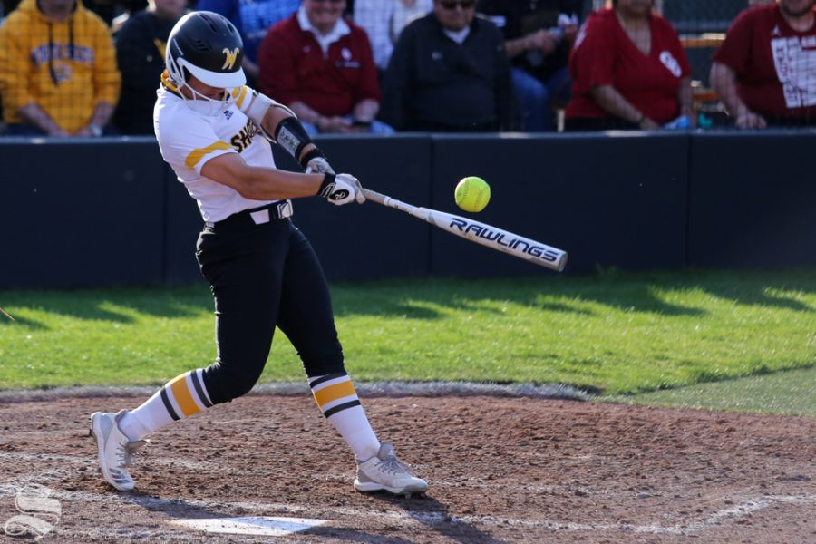 A Wichita State hitter tips a ball foul. No. 1 Oklahoma defeated Wichita State 8-0 in five innings on April 24 at Wilkins Stadium. (Photo by Evan Pflugradt/The Sunflower).