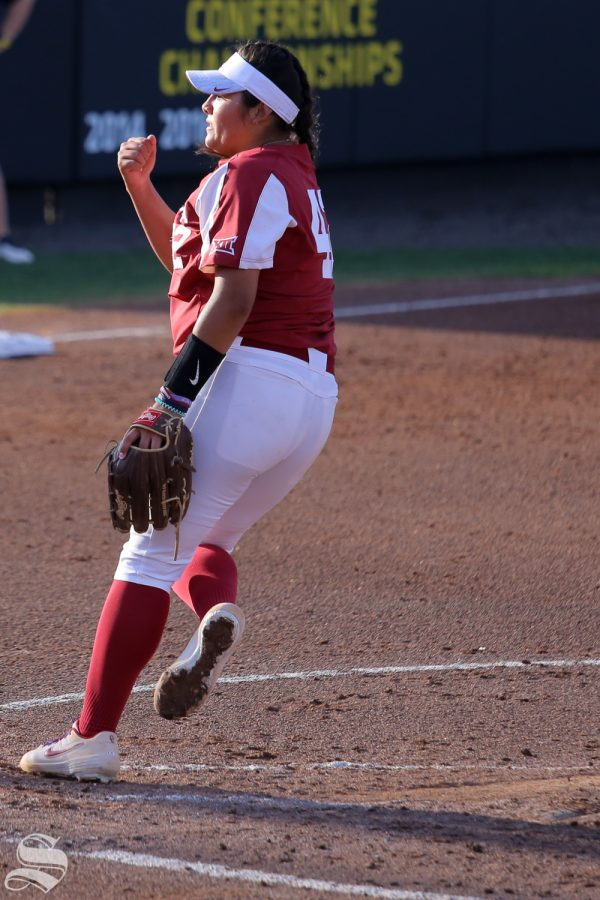 Oklahoma pitcher Mariah Lopez delivers a pitch. No. 1 Oklahoma defeated Wichita State 8-0 in five innings on April 24 at Wilkins Stadium. (Photo by Evan Pflugradt/The Sunflower).