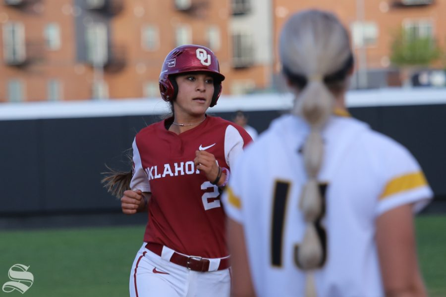 Oklahoma's Sydney Romero rounds second base after clubbing a home run to left-center field. No. 1 Oklahoma defeated Wichita State 8-0 in five innings on April 24 at Wilkins Stadium. (Photo by Evan Pflugradt/The Sunflower).