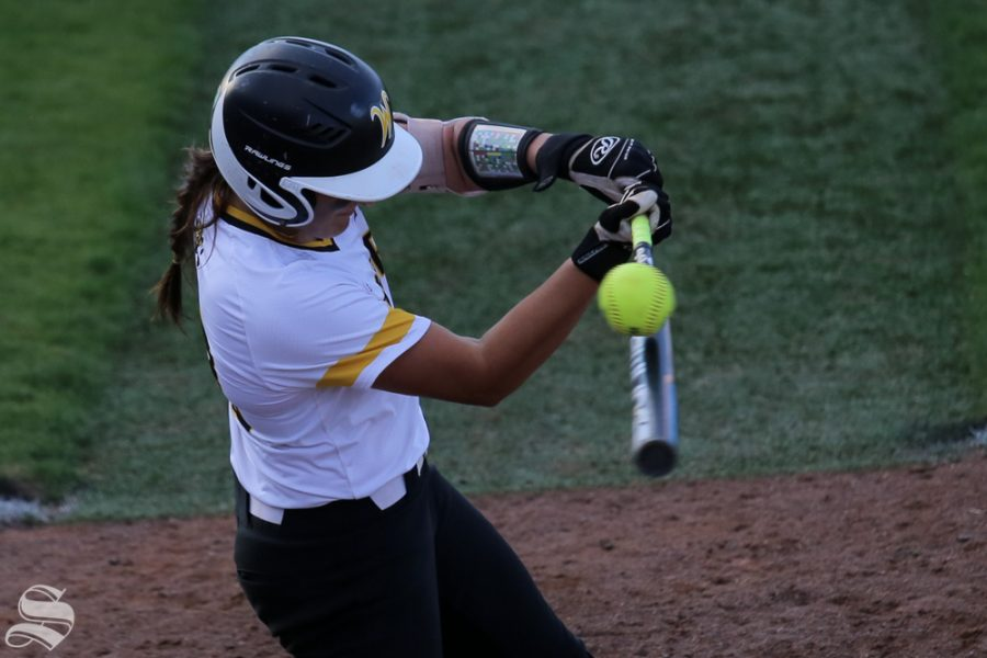 A Wichita State hitter foul tips a ball. No. 1 Oklahoma defeated Wichita State 8-0 in five innings on April 24 at Wilkins Stadium. (Photo by Evan Pflugradt/The Sunflower).