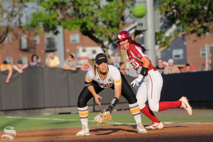 Wichita State's Neleigh Herring awaits a pitch. No. 1 Oklahoma defeated Wichita State 8-0 in five innings on April 24 at Wilkins Stadium. (Photo by Evan Pflugradt/The Sunflower).