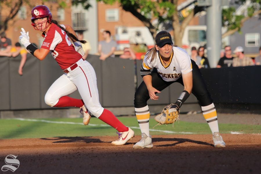 Wichita States Neleigh Herring awaits a pitch. No. 1 Oklahoma defeated Wichita State 8-0 in five innings on April 24 at Wilkins Stadium. (Photo by Evan Pflugradt/The Sunflower).