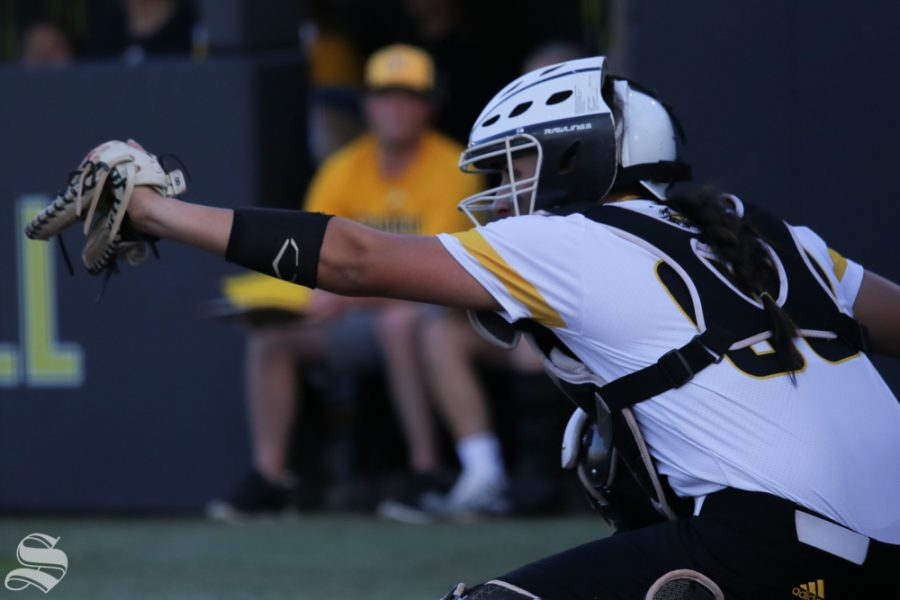 Wichita States Madison Perrigan plays catcher. No. 1 Oklahoma defeated Wichita State 8-0 in five innings on April 24 at Wilkins Stadium. (Photo by Evan Pflugradt/The Sunflower).