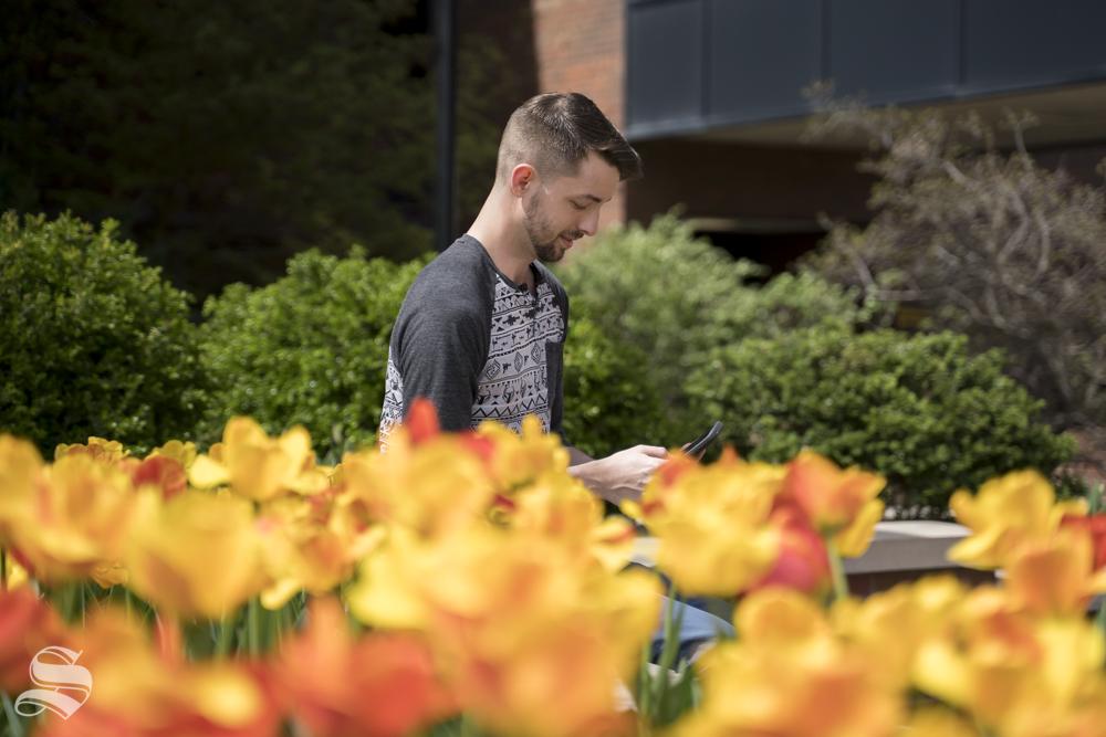 A+student+walks+by+one+of+WSU%27s+tulip+gardens.+