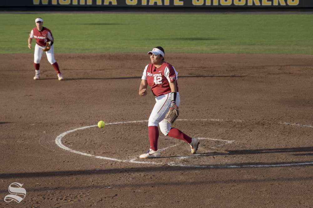 OU+junior+Mariah+Lopez+pitches+during+the+game+against+Wichita+State+at+Wilkins+Stadium+on+April+24%2C+2019.