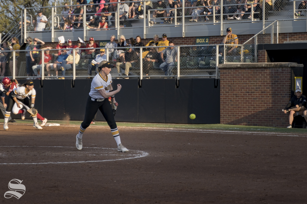 Wichita+State+sophomore+Caitlin+Bingham+pitches+during+the+game+against+OU+at+Wilkins+Stadium+on+April+24%2C+2019.