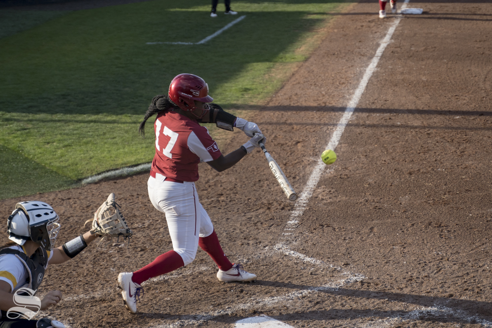 OU+senior+Shay+Knighten+swings+at+pitch+during+the+game+against+Wichita+State+at+Wilkins+Stadium+on+April+24%2C+2019.