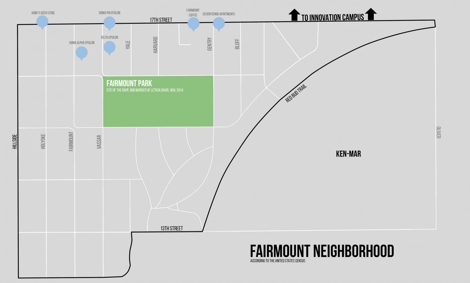 The United States Census defines Fairmount in their data as the area starting at 17th and Hillside, just south of campus, and stretches south to a block after 13th Street at Hillside. It then stretches east and divides Fairmount and Ken-Mar at the Red Bud Trail, which used to be a rail line. The Sunflower will be using these boundaries when they refer to Fairmount.