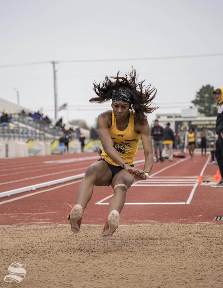 Wichita State jumper Amiya Anoma during the KT Woodman Classic on April 13, 2019 at Cessna Stadium.